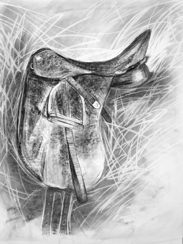 Ready to Ride, 18x24inches, 2017, Charcoal on Paper, $150