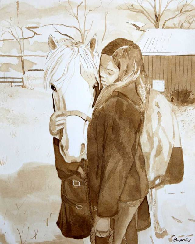SOLD-Katie and Snowflake, 8x10 in, 2017, ink and graphite on 140 lb. hotpress watercolor paper