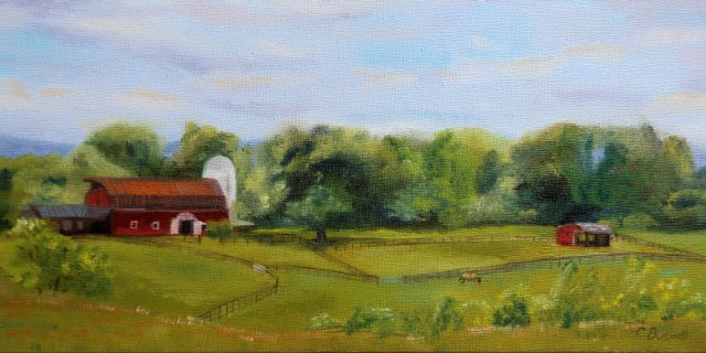 "View from Ballina Farm, 2017, oil on panel, 12x6"", available $350"
